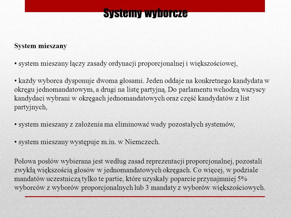 Systemy wyborcze System mieszany