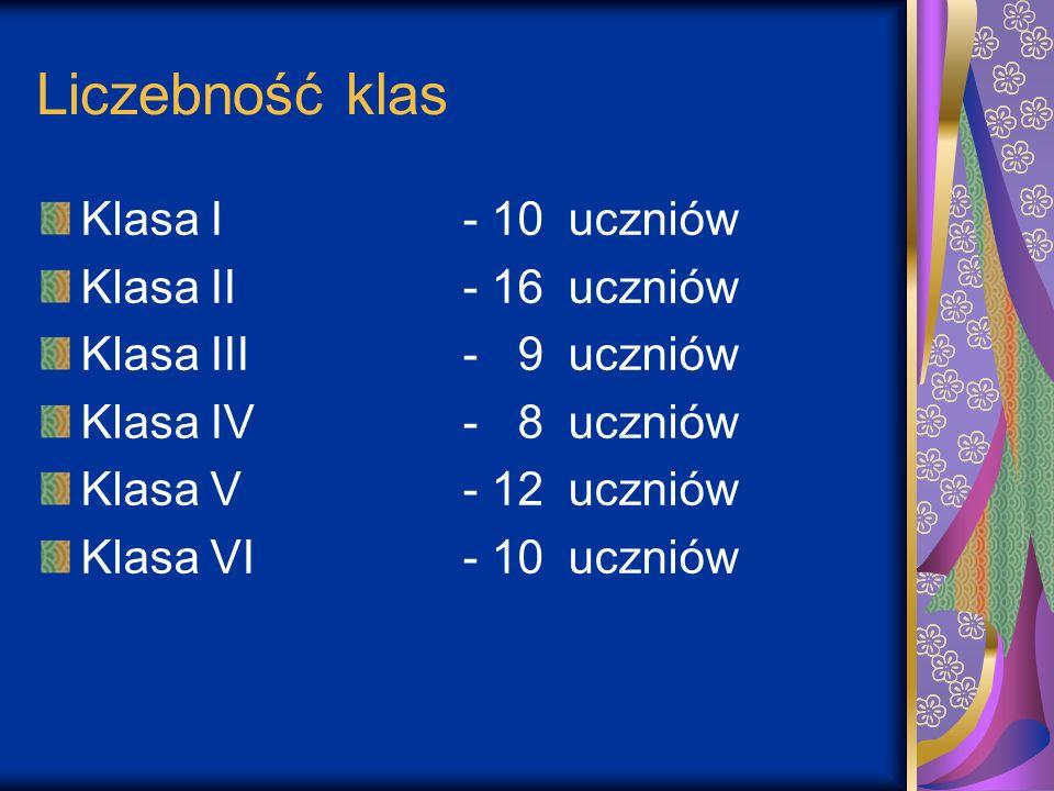 Liczebność klas Klasa I - 10 uczniów Klasa II - 16 uczniów