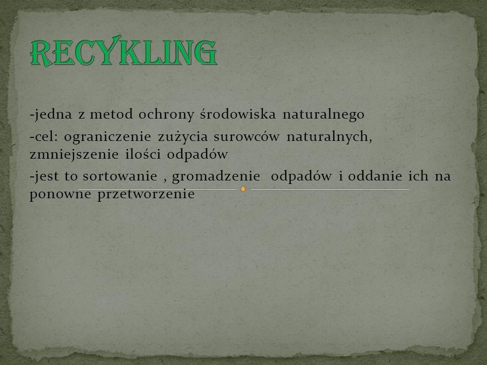 RECYKLING -jedna z metod ochrony środowiska naturalnego