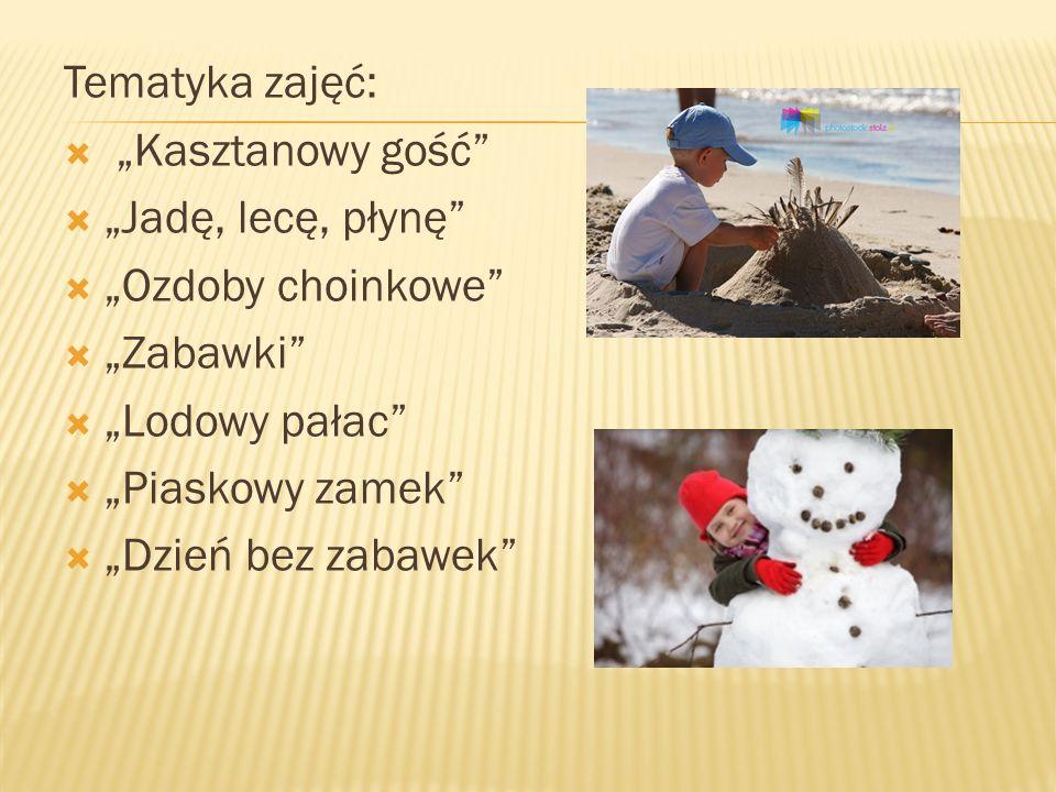 """Tematyka zajęć: """"Kasztanowy gość """"Jadę, lecę, płynę """"Ozdoby choinkowe """"Zabawki """"Lodowy pałac"""