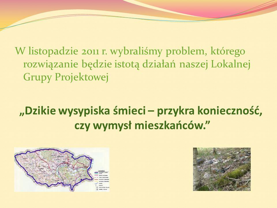 W listopadzie 2011 r. wybraliśmy problem, którego rozwiązanie będzie istotą działań naszej Lokalnej Grupy Projektowej