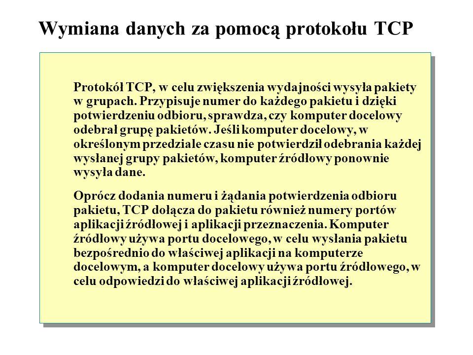 Wymiana danych za pomocą protokołu TCP