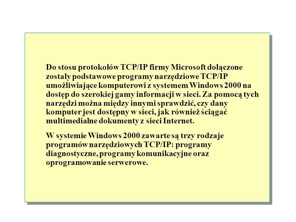 Do stosu protokołów TCP/IP firmy Microsoft dołączone zostały podstawowe programy narzędziowe TCP/IP umożliwiające komputerowi z systemem Windows 2000 na dostęp do szerokiej gamy informacji w sieci. Za pomocą tych narzędzi można między innymi sprawdzić, czy dany komputer jest dostępny w sieci, jak również ściągać multimedialne dokumenty z sieci Internet.