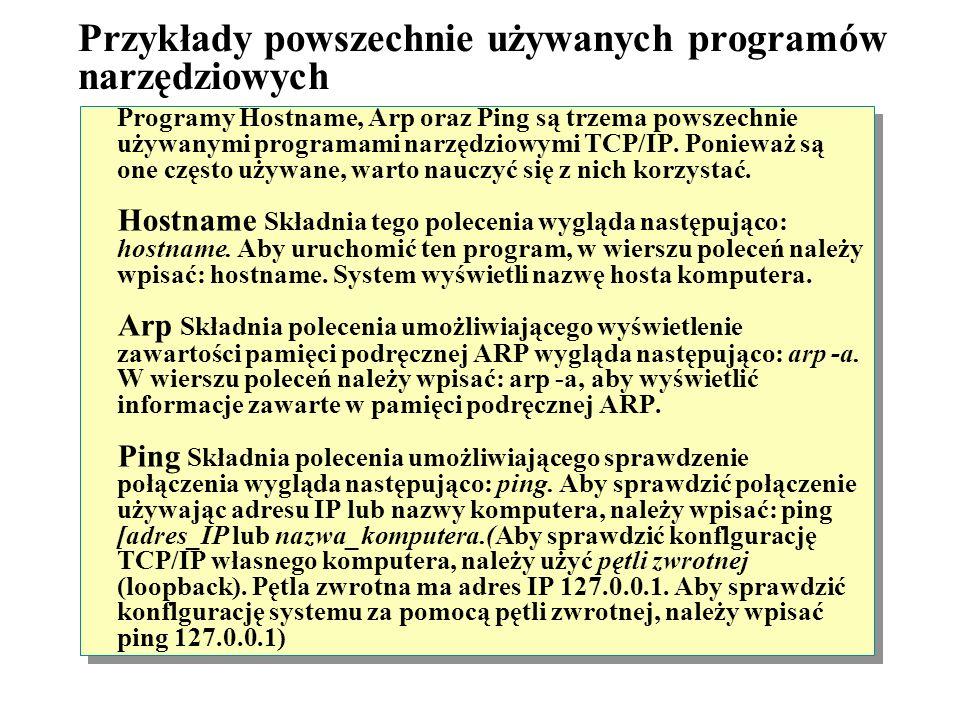 Przykłady powszechnie używanych programów narzędziowych