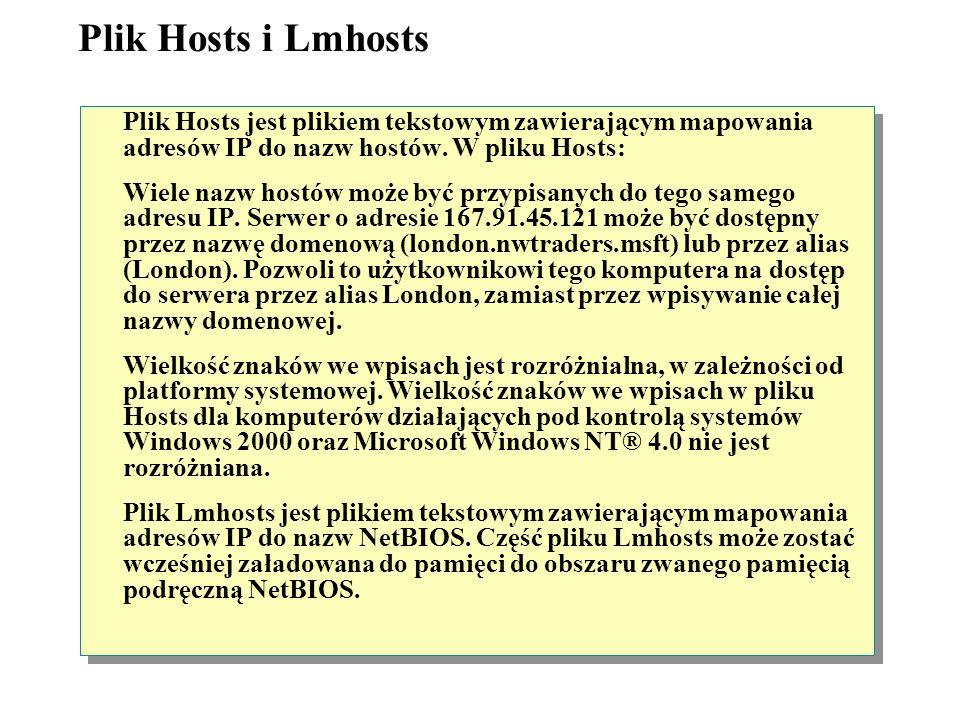 Plik Hosts i Lmhosts Plik Hosts jest plikiem tekstowym zawierającym mapowania adresów IP do nazw hostów. W pliku Hosts: