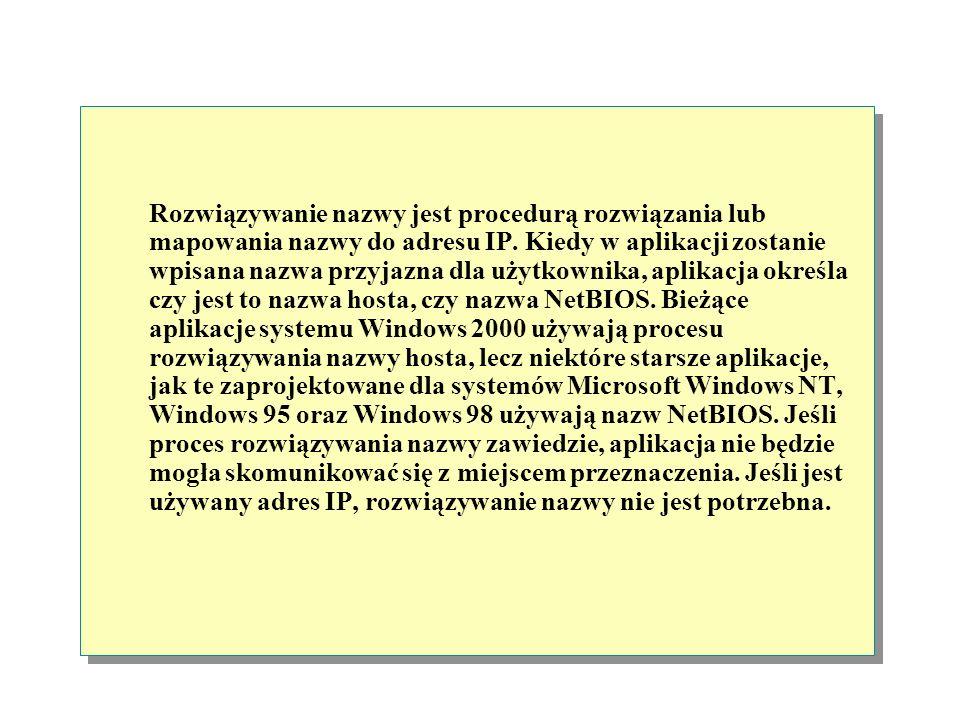 Rozwiązywanie nazwy jest procedurą rozwiązania lub mapowania nazwy do adresu IP.