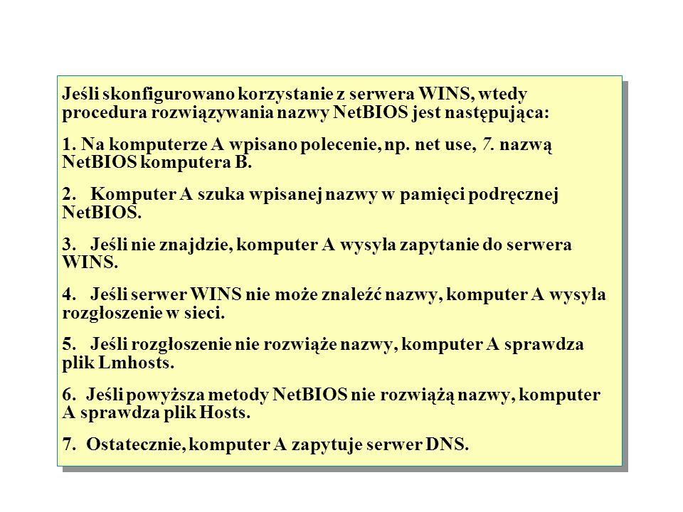 Jeśli skonfigurowano korzystanie z serwera WINS, wtedy procedura rozwiązywania nazwy NetBIOS jest następująca: