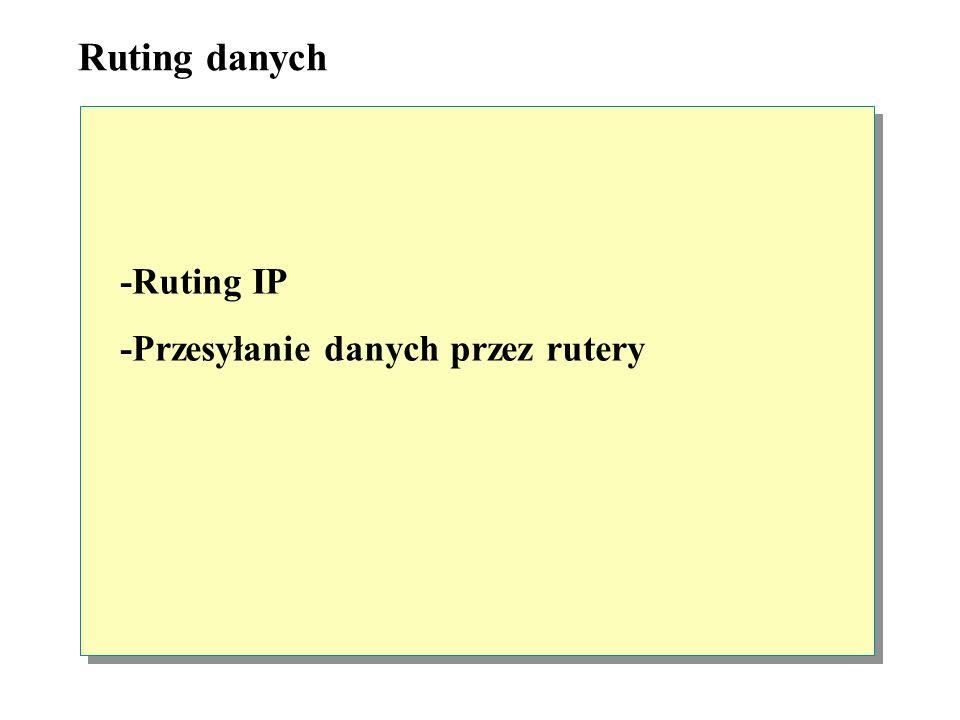 Ruting danych -Ruting IP -Przesyłanie danych przez rutery