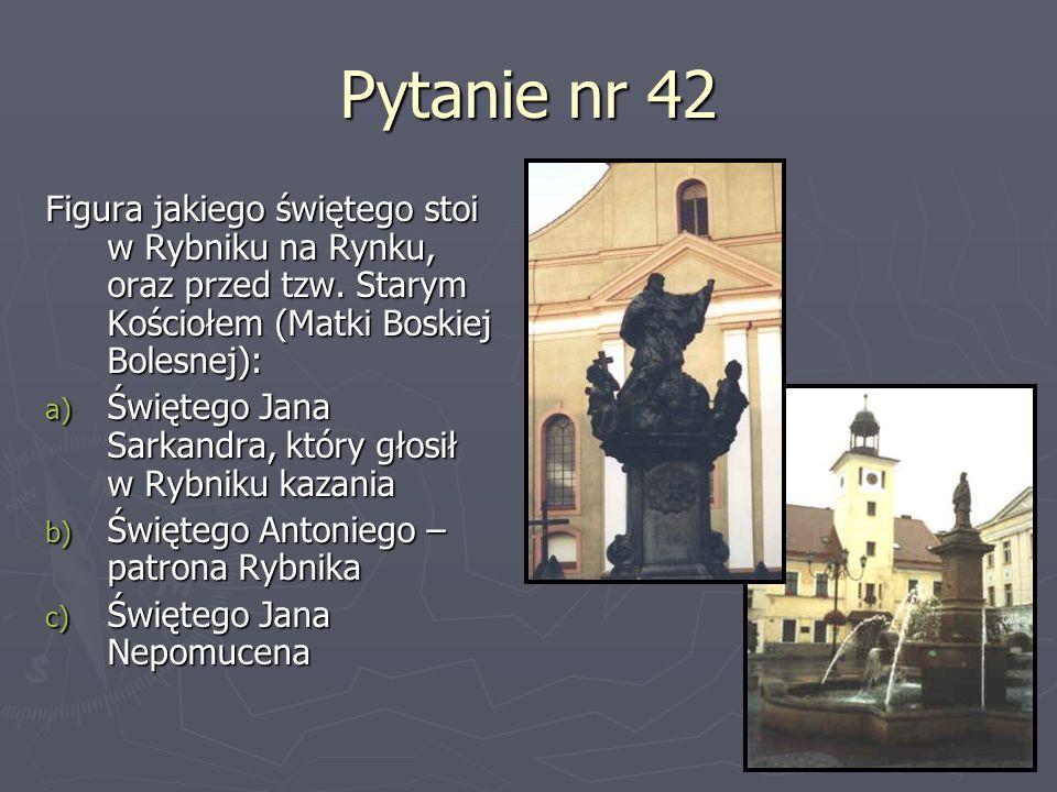 Pytanie nr 42Figura jakiego świętego stoi w Rybniku na Rynku, oraz przed tzw. Starym Kościołem (Matki Boskiej Bolesnej):
