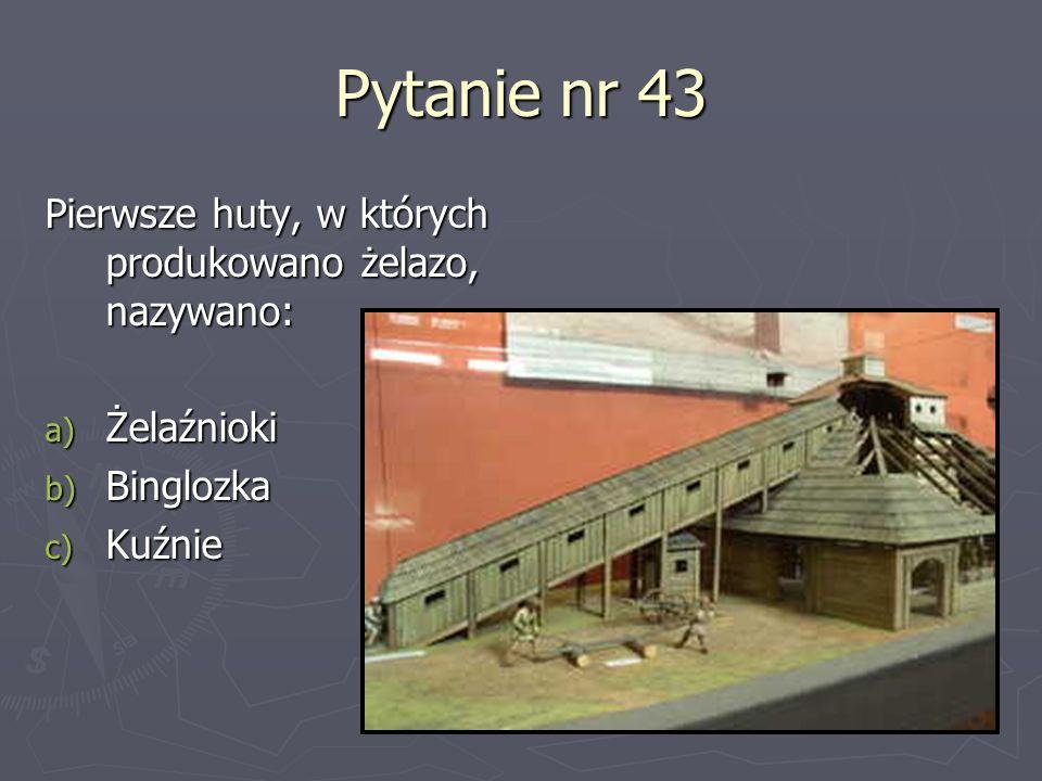 Pytanie nr 43 Pierwsze huty, w których produkowano żelazo, nazywano: