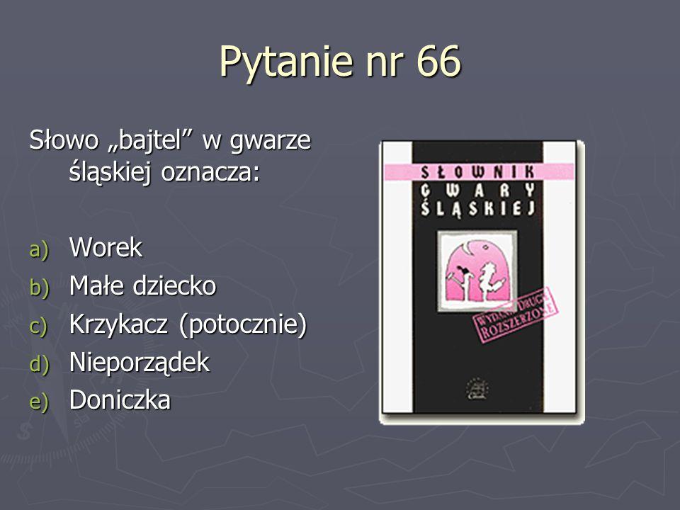 """Pytanie nr 66 Słowo """"bajtel w gwarze śląskiej oznacza: Worek"""