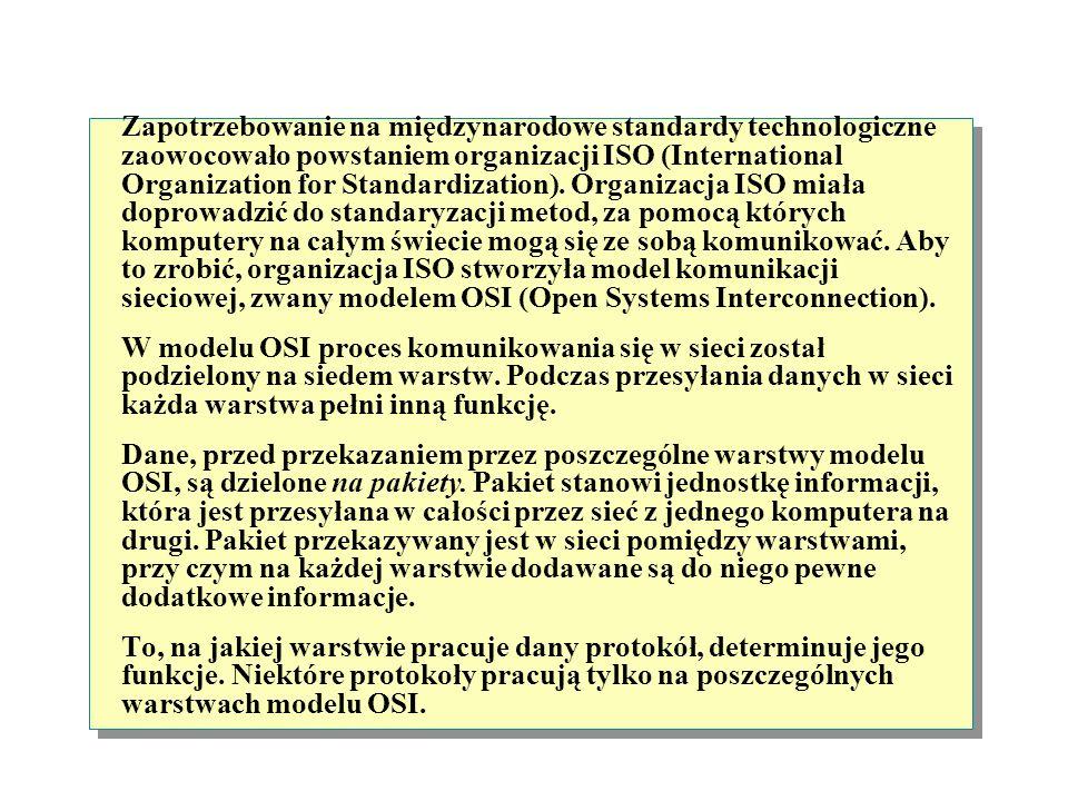 Zapotrzebowanie na międzynarodowe standardy technologiczne zaowocowało powstaniem organizacji ISO (International Organization for Standardization). Organizacja ISO miała doprowadzić do standaryzacji metod, za pomocą których komputery na całym świecie mogą się ze sobą komunikować. Aby to zrobić, organizacja ISO stworzyła model komunikacji sieciowej, zwany modelem OSI (Open Systems Interconnection).