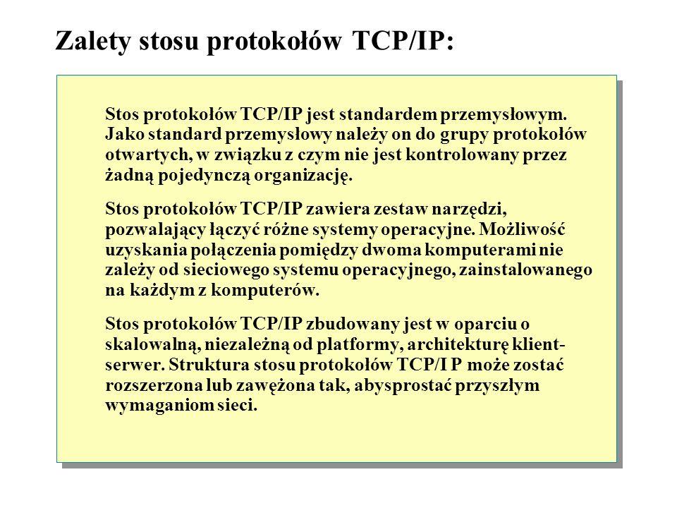 Zalety stosu protokołów TCP/IP: