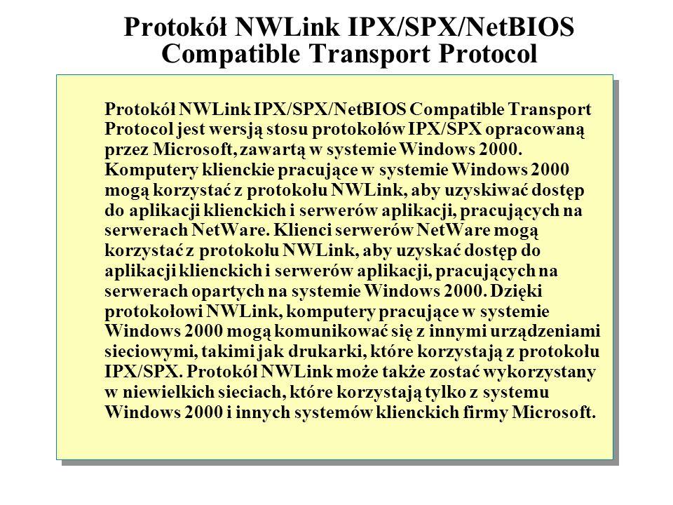 Protokół NWLink IPX/SPX/NetBIOS Compatible Transport Protocol