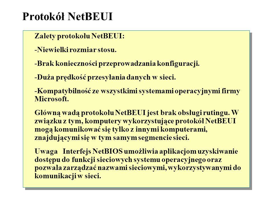 Protokół NetBEUI Zalety protokołu NetBEUI: -Niewielki rozmiar stosu.