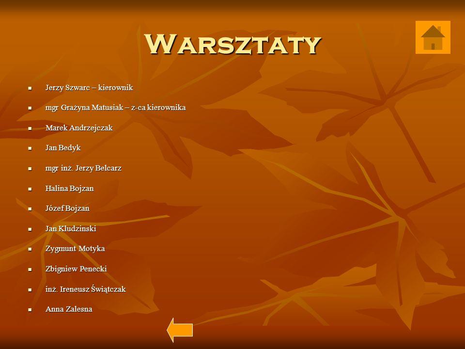 Warsztaty Jerzy Szwarc – kierownik