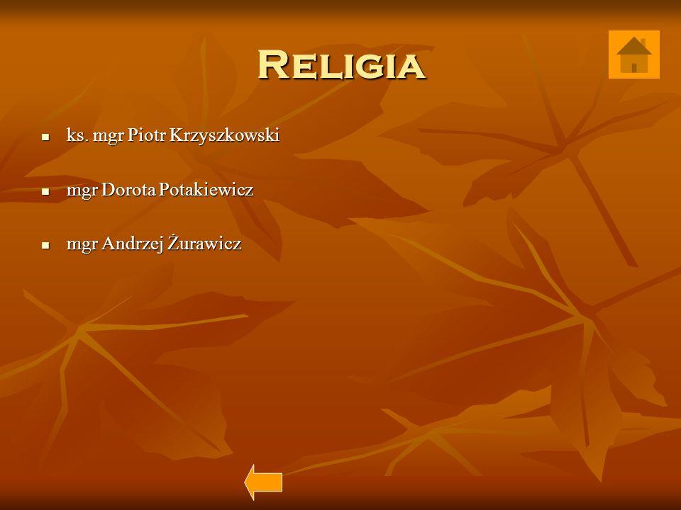 Religia ks. mgr Piotr Krzyszkowski mgr Dorota Potakiewicz