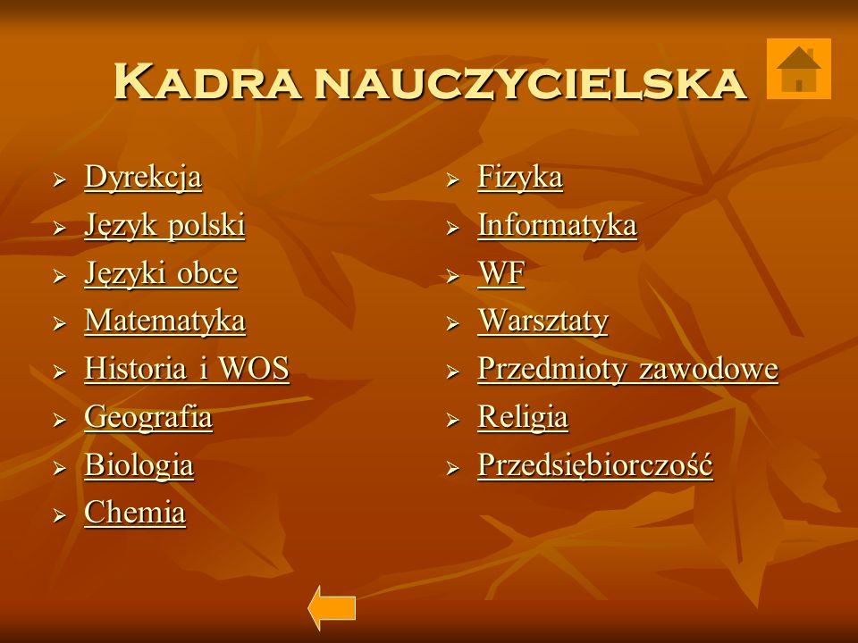 Kadra nauczycielska Dyrekcja Język polski Języki obce Matematyka