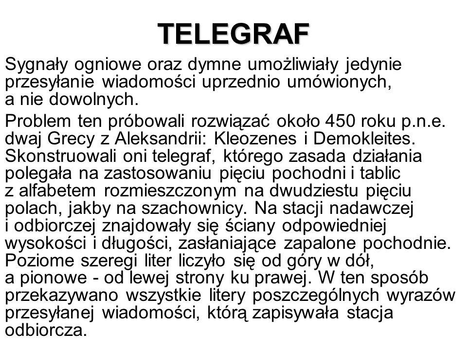 TELEGRAF Sygnały ogniowe oraz dymne umożliwiały jedynie przesyłanie wiadomości uprzednio umówionych, a nie dowolnych.