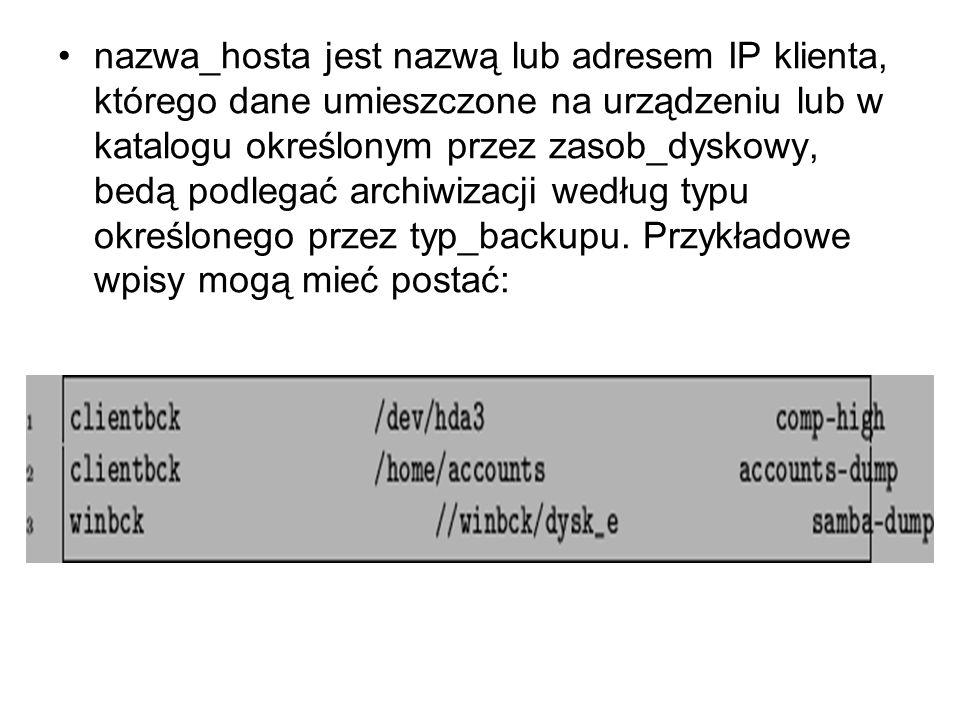 nazwa_hosta jest nazwą lub adresem IP klienta, którego dane umieszczone na urządzeniu lub w katalogu określonym przez zasob_dyskowy, bedą podlegać archiwizacji według typu określonego przez typ_backupu.