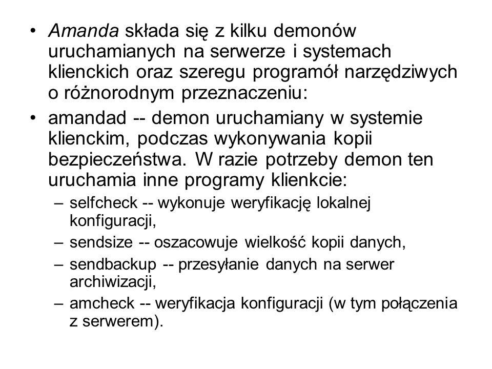 Amanda składa się z kilku demonów uruchamianych na serwerze i systemach klienckich oraz szeregu programół narzędziwych o różnorodnym przeznaczeniu: