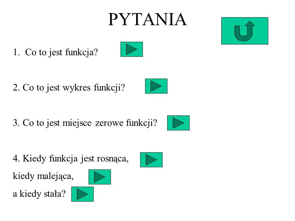 PYTANIA 1. Co to jest funkcja 2. Co to jest wykres funkcji