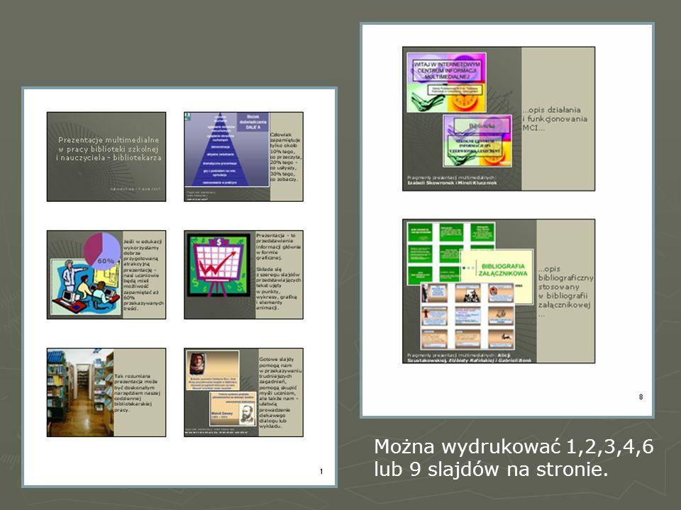 Można wydrukować 1,2,3,4,6 lub 9 slajdów na stronie.