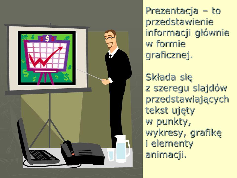Prezentacja – to przedstawienie informacji głównie w formie graficznej