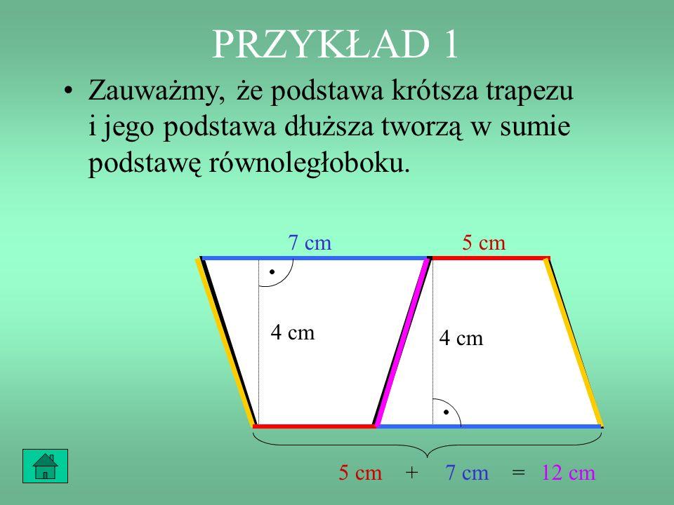 PRZYKŁAD 1 Zauważmy, że podstawa krótsza trapezu i jego podstawa dłuższa tworzą w sumie podstawę równoległoboku.