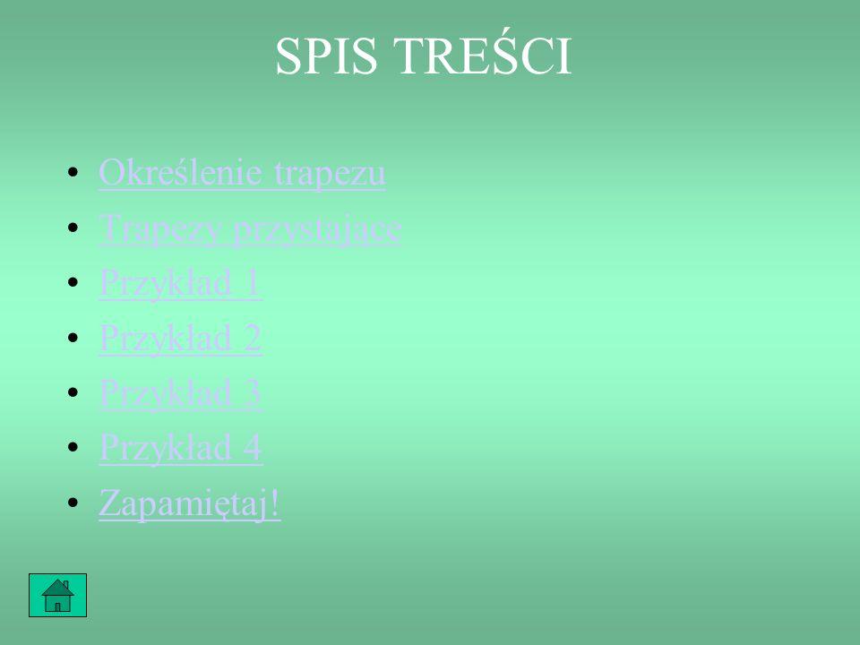SPIS TREŚCI Określenie trapezu Trapezy przystające Przykład 1