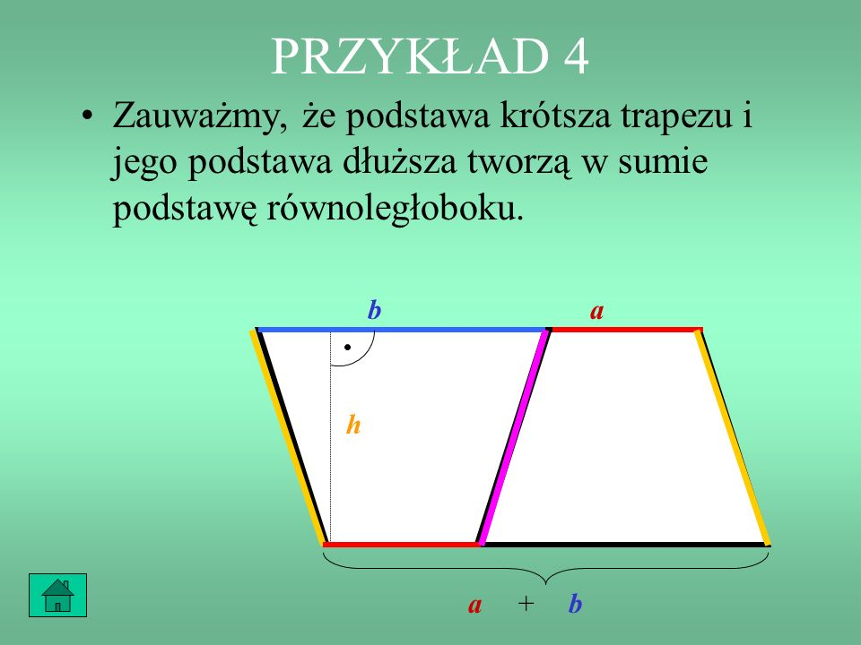 PRZYKŁAD 4 Zauważmy, że podstawa krótsza trapezu i jego podstawa dłuższa tworzą w sumie podstawę równoległoboku.