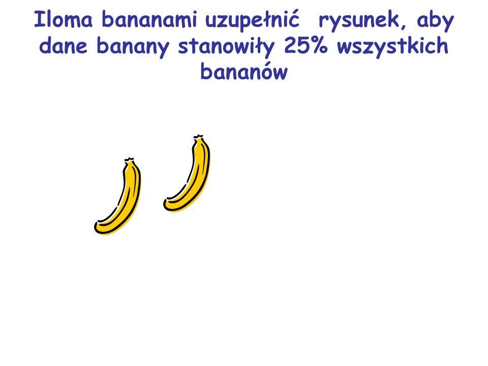 Iloma bananami uzupełnić rysunek, aby dane banany stanowiły 25% wszystkich bananów