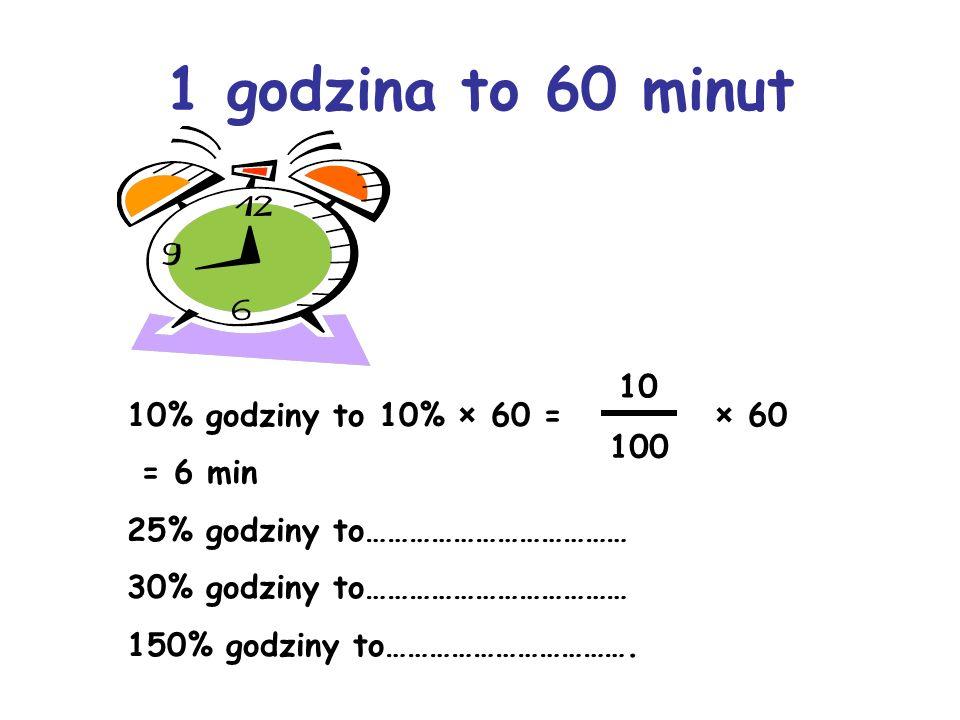 1 godzina to 60 minut 10 10% godziny to 10% × 60 = × 60 = 6 min 100