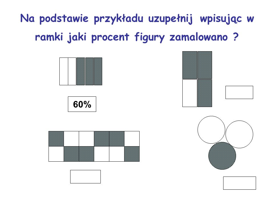 Na podstawie przykładu uzupełnij wpisując w ramki jaki procent figury zamalowano