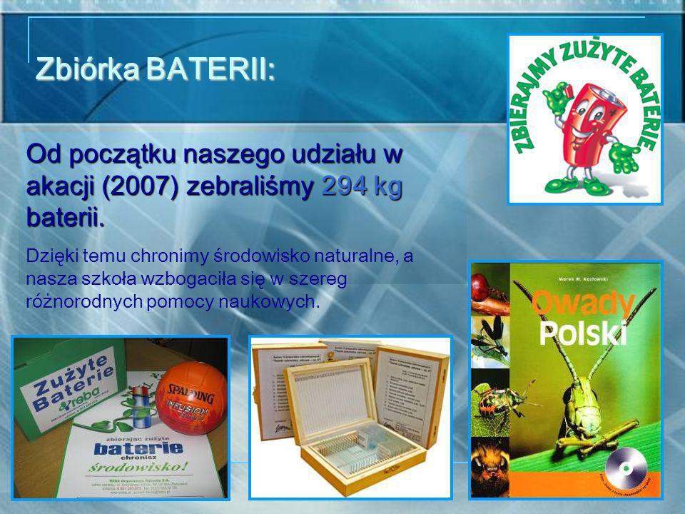 Zbiórka BATERII: Od początku naszego udziału w akacji (2007) zebraliśmy 294 kg baterii.