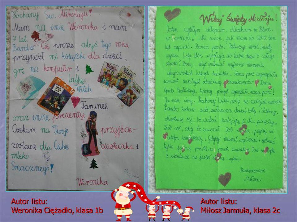 Autor listu: Weronika Ciężadło, klasa 1b