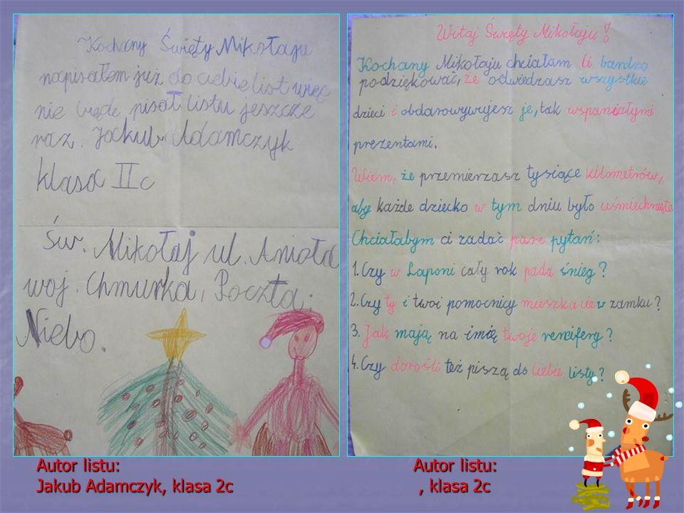 Autor listu: Jakub Adamczyk, klasa 2c