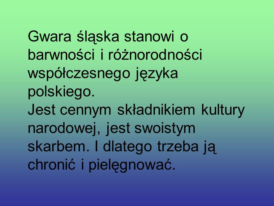 Gwara śląska stanowi o barwności i różnorodności współczesnego języka polskiego.