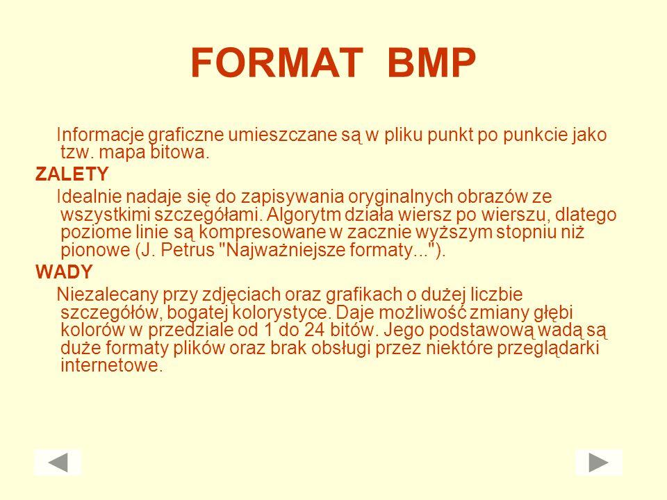 FORMAT BMP Informacje graficzne umieszczane są w pliku punkt po punkcie jako tzw. mapa bitowa. ZALETY.
