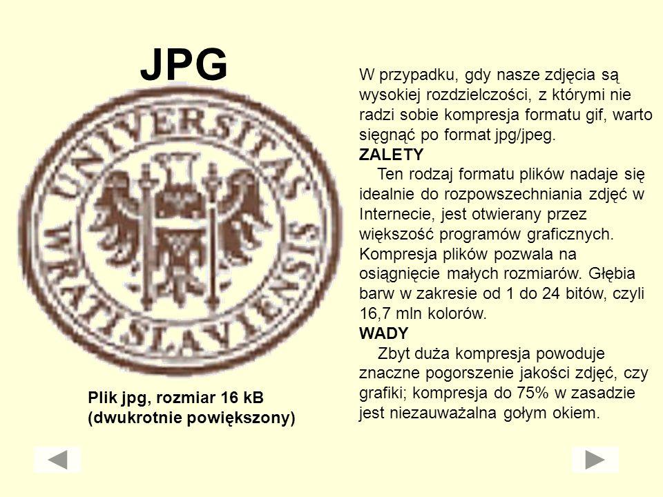 JPG W przypadku, gdy nasze zdjęcia są wysokiej rozdzielczości, z którymi nie radzi sobie kompresja formatu gif, warto sięgnąć po format jpg/jpeg.