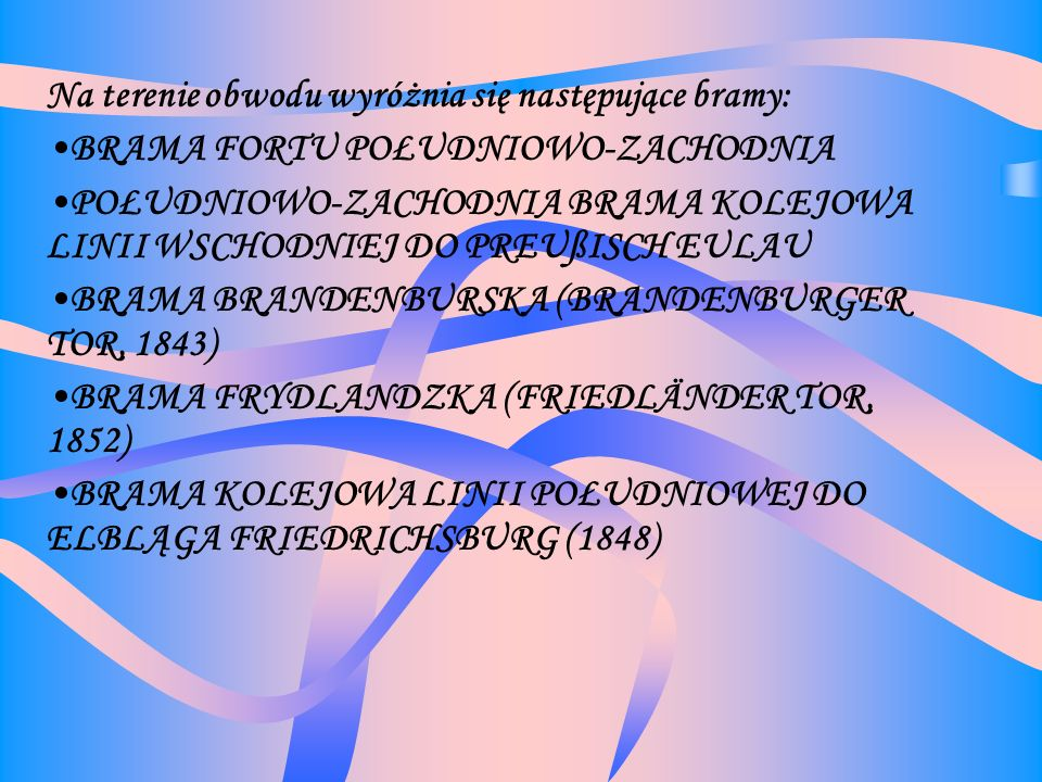 Na terenie obwodu wyróżnia się następujące bramy: