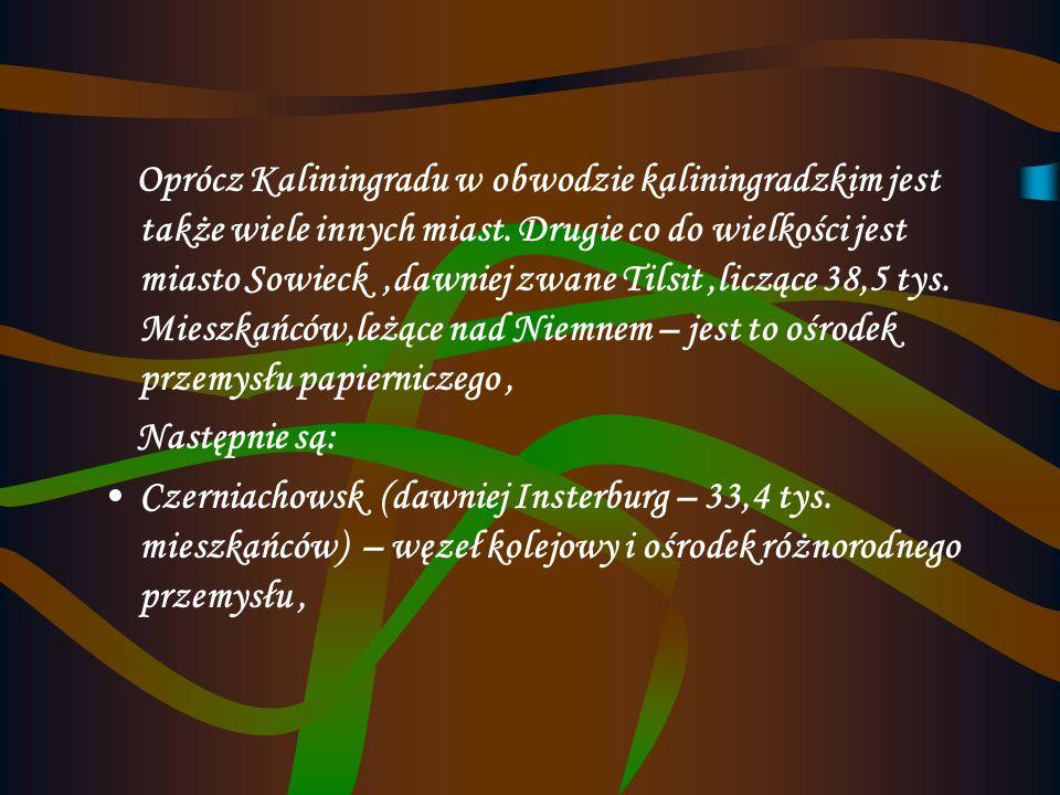 Oprócz Kaliningradu w obwodzie kaliningradzkim jest także wiele innych miast. Drugie co do wielkości jest miasto Sowieck ,dawniej zwane Tilsit ,liczące 38,5 tys. Mieszkańców,leżące nad Niemnem – jest to ośrodek przemysłu papierniczego ,