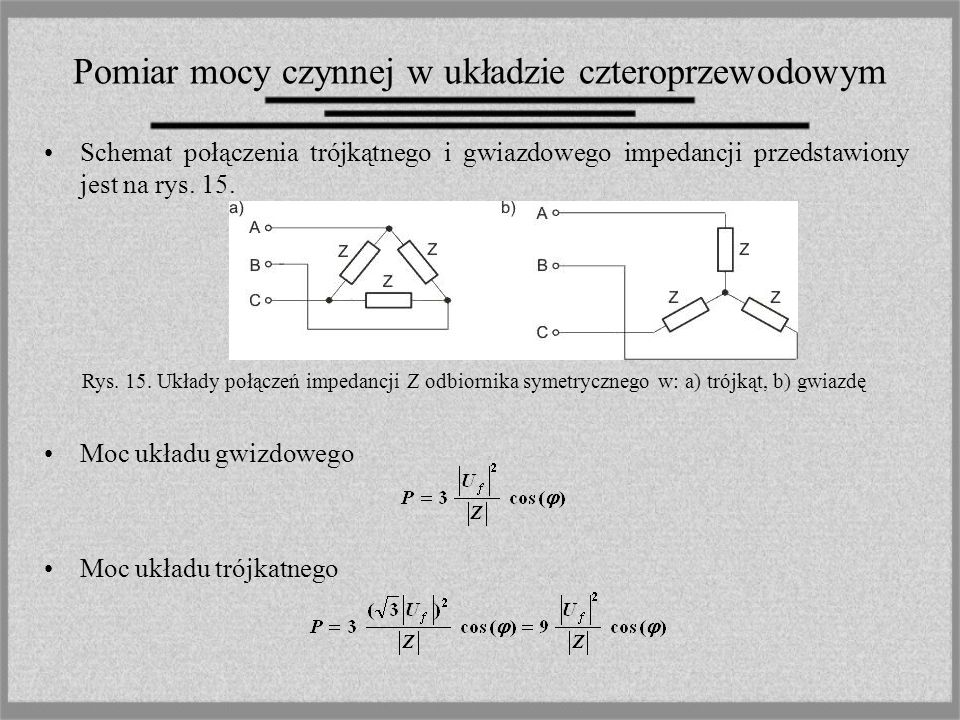 Pomiar mocy czynnej w układzie czteroprzewodowym