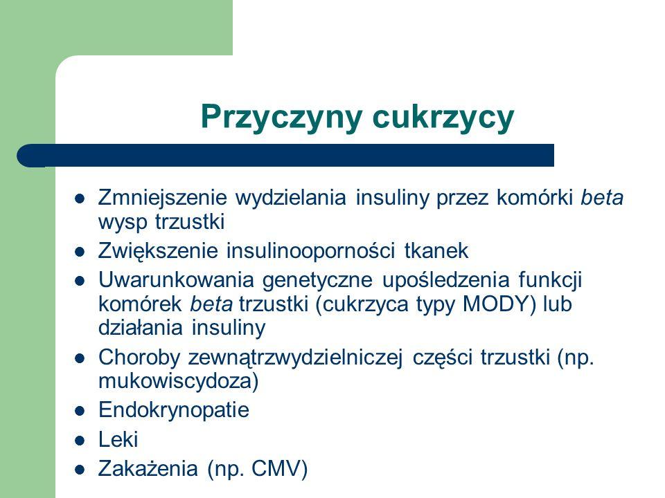 Przyczyny cukrzycyZmniejszenie wydzielania insuliny przez komórki beta wysp trzustki. Zwiększenie insulinooporności tkanek.