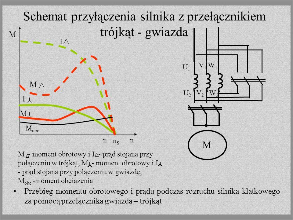 Schemat przyłączenia silnika z przełącznikiem trójkąt - gwiazda