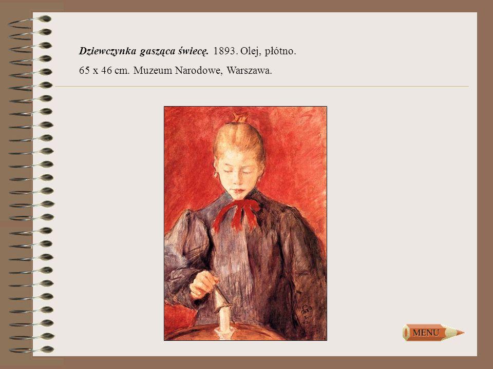 Dziewczynka gasząca świecę. 1893. Olej, płótno.