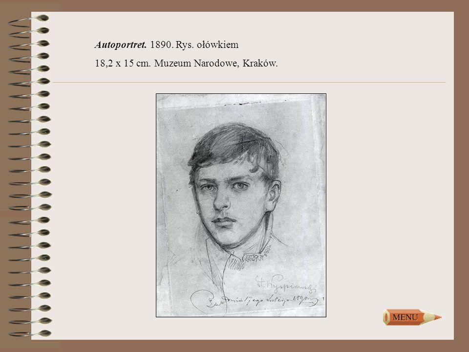 Autoportret. 1890. Rys. ołówkiem