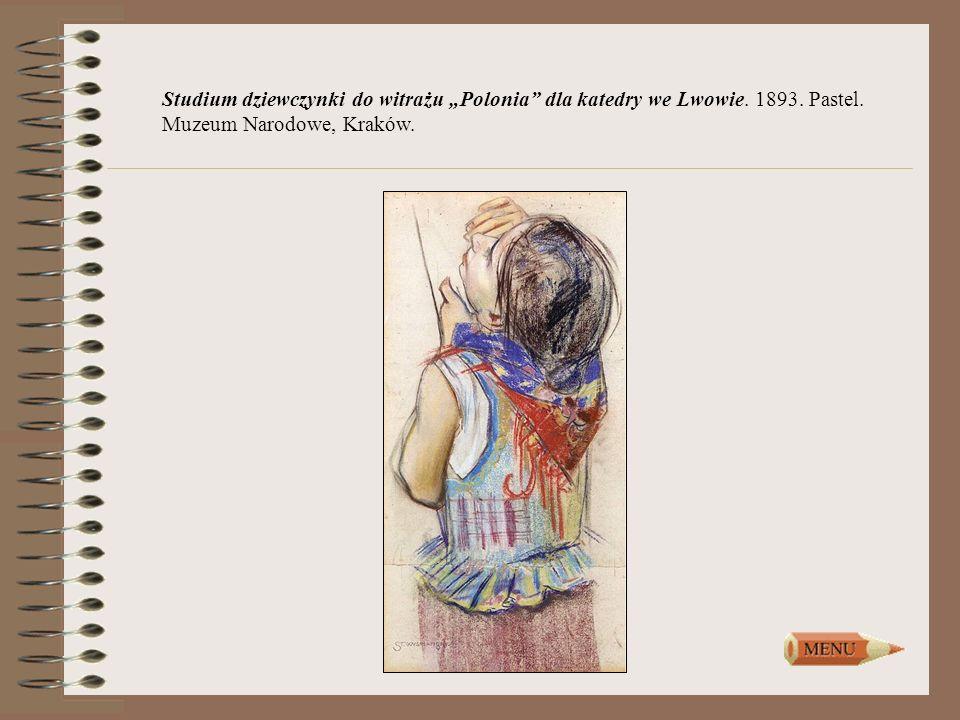 """Studium dziewczynki do witrażu """"Polonia dla katedry we Lwowie. 1893"""