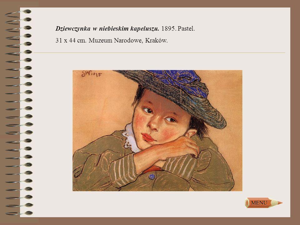 Dziewczynka w niebieskim kapeluszu. 1895. Pastel.
