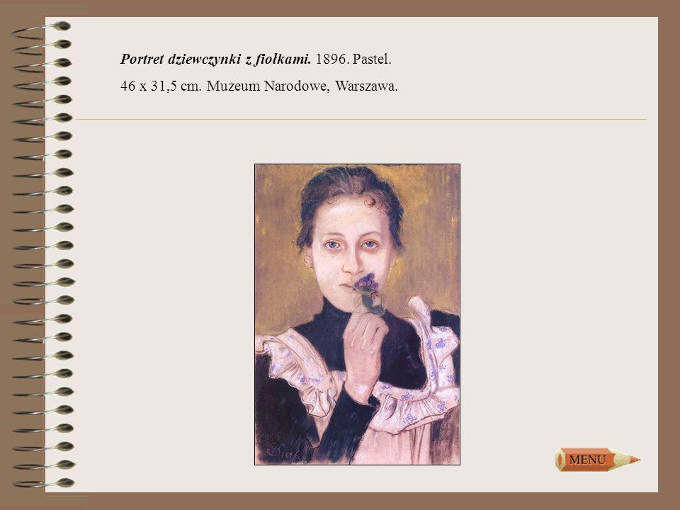 Portret dziewczynki z fiołkami. 1896. Pastel.